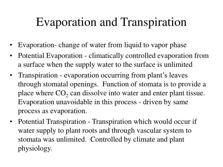 evaporation and transpiration n.