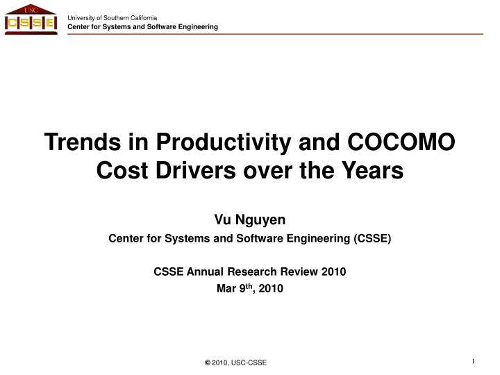 trends in productivity and cocomo cost drivers over the years n.