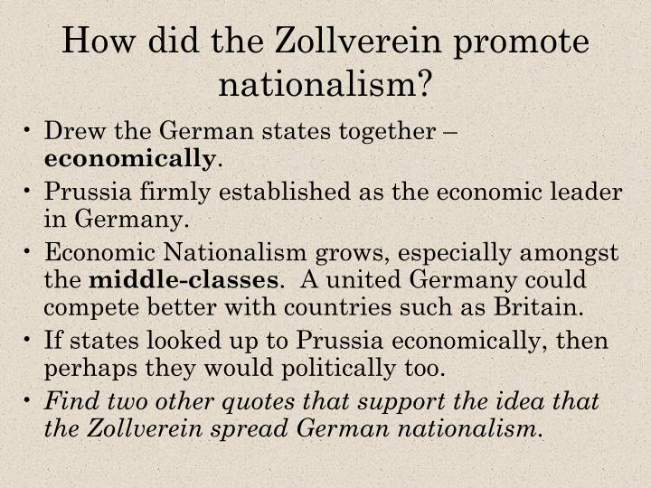 what role did the zollverein play in unification
