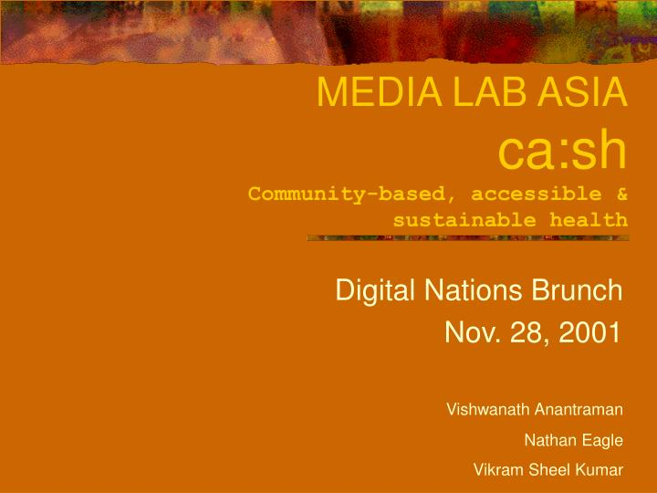 media lab asia ca sh community based accessible sustainable health n.