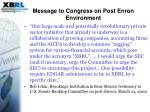 message to congress on post enron environment
