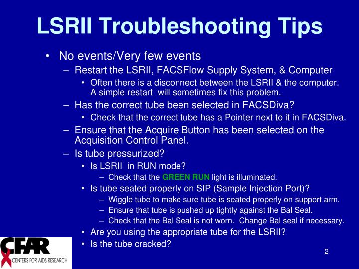 Lsrii troubleshooting tips1