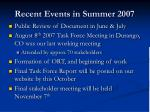 recent events in summer 2007