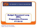 budget document long bdl preparation process fy 09 10