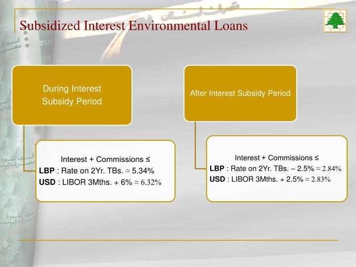 Subsidized Interest Environmental Loans