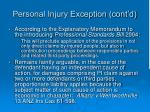 personal injury exception cont d