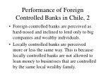 performance of foreign controlled banks in chile 2