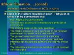 african situation contd problems with diffusion of icts in africa