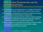 aisi action framework can be summarized thus