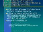 ictp training and system development on networking radiocommunications