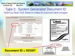 type 2 system generated document id used by new york state to index id scanned label images