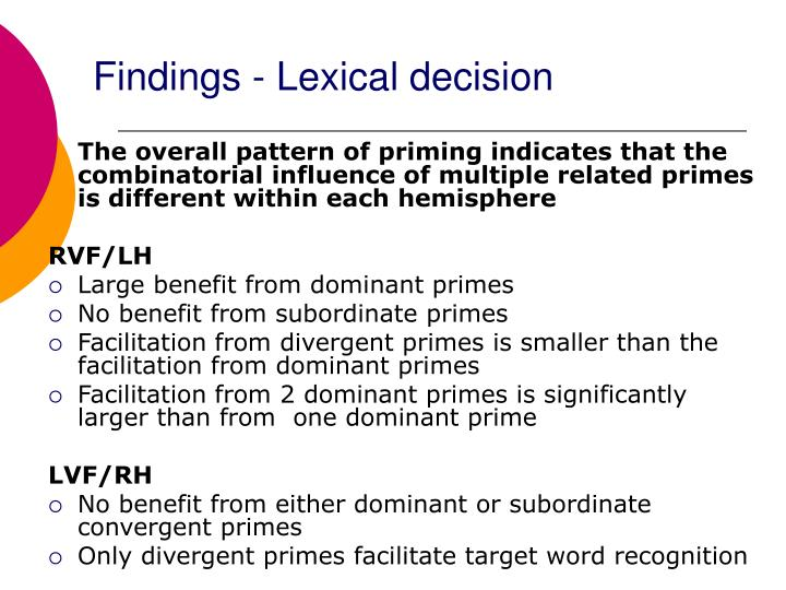 Findings - Lexical decision