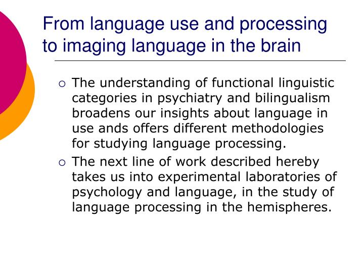 From language use and processing to imaging language in the brain