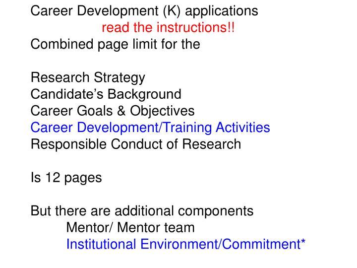 Career Development (K) applications