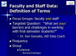 faculty and staff data definition of terms