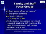 faculty and staff focus groups