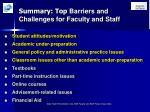 summary top barriers and challenges for faculty and staff