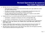 revised operational acceptance test oat approach