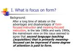 i what is focus on form