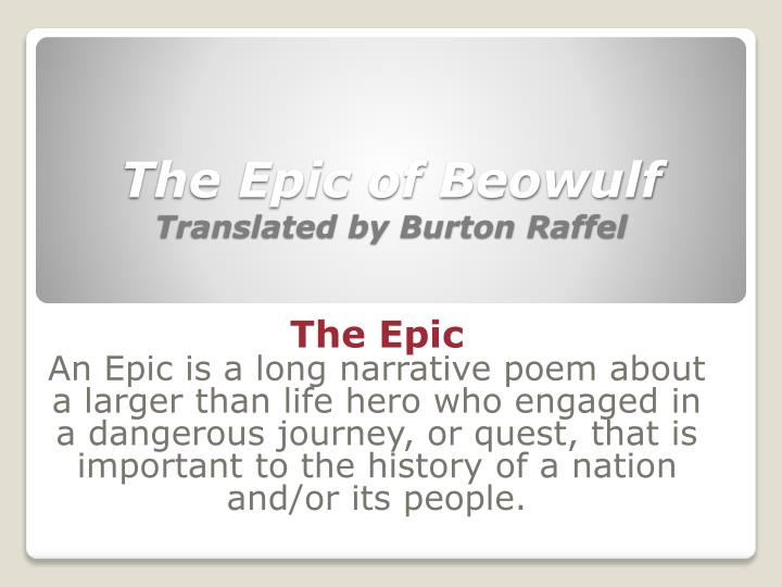 the epic of beowulf translated by burton raffel n.