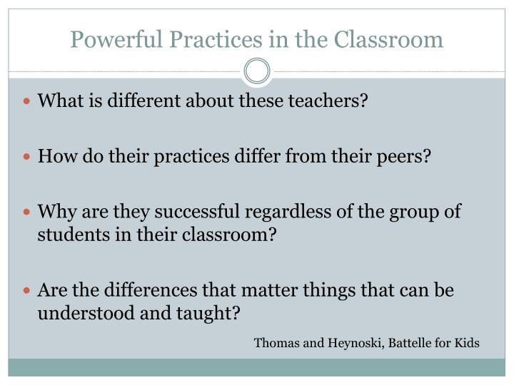 Powerful practices in the classroom
