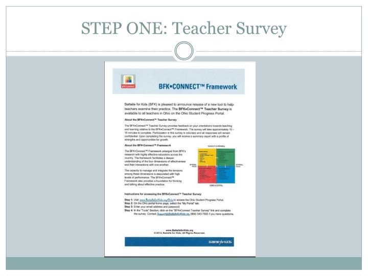 STEP ONE: Teacher Survey
