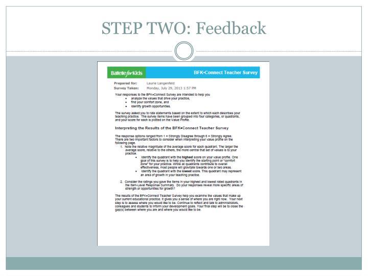 STEP TWO: Feedback