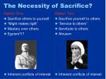 the necessity of sacrifice