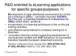 r d oriented to elearning applications for specific groups purposes 1