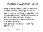 research into generic issues
