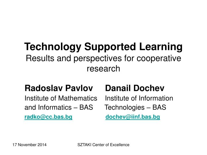 technology supported learning results and perspectives for cooperative research n.