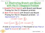 6 1 illustrating branch and bound with the 0 1 knapsack problem