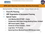 apb joint steering committee meeting summary
