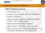 issues for discussion for asm 2012