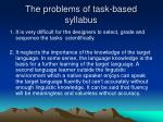 the problems of task based syllabus