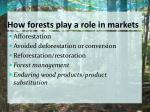 how forests play a role in markets