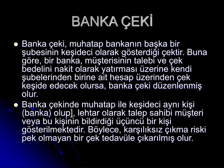 BANKA ÇEKİ