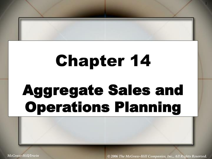 chapter 14 aggregate sales and operations planning n.