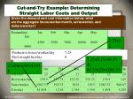 cut and try example determining straight labor costs and output