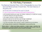 10 fdi policy framework