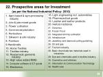 22 prospective areas for investment as per the national industrial policy 2010