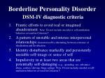 borderline personality disorder dsm iv diagnostic criteria