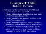 development of bpd biological correlates