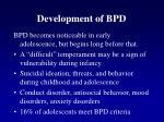 development of bpd