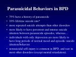 parasuicidal behaviors in bpd
