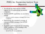 pdes inc engineering analysis team objectives