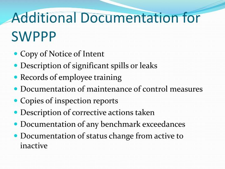 Additional Documentation for SWPPP