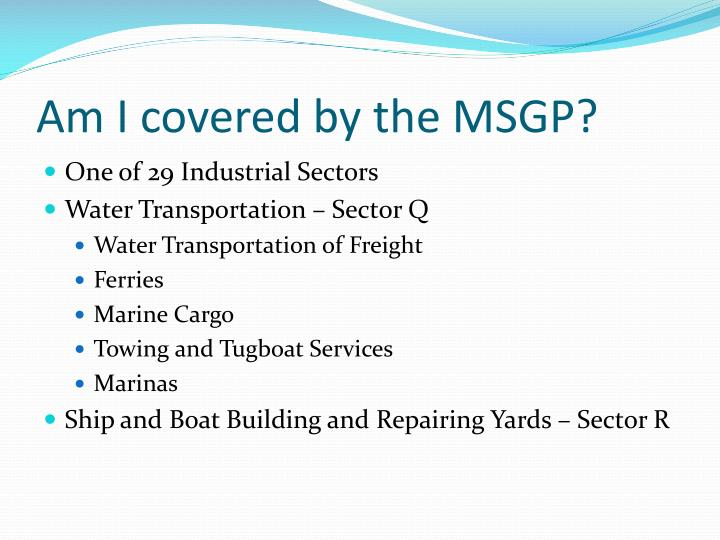 Am I covered by the MSGP?