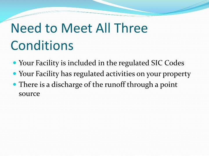 Need to Meet All Three Conditions