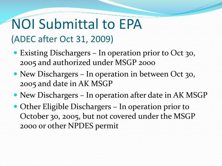NOI Submittal to EPA